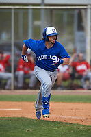 Toronto Blue Jays Ryan Gold (20) runs to first base during an exhibition game against the Canada Junior National Team on March 8, 2020 at Baseball City in St. Petersburg, Florida.  (Mike Janes/Four Seam Images)
