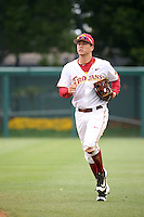 Lars Nootbaar (11) of the Southern California Trojans returns to the dugout during a game against the Mississippi State Bulldogs at Dedeaux Field on March 5, 2016 in Los Angeles, California. Mississippi State defeated Southern California , 8-7. (Larry Goren/Four Seam Images)