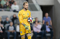 LOS ANGELES, CA - OCTOBER 29: Stefan Frei #24 goalkeeper of the Seattle Sounders FC handles the ball during a game between Seattle Sounders FC and Los Angeles FC at Banc of California Stadium on October 29, 2019 in Los Angeles, California.