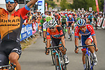 Sonny Colbrelli (ITA) Bahrain-McLaren outsprints race leader  Bryan Coquard (FRA) B&B Hotels-Vital Concept/KTM to win Stage 2 of the Route d'Occitanie 2020, running 174.5km from Carcassone to Cap Découverte, France. 2nd August 2020. <br /> Picture: Colin Flockton | Cyclefile<br /> <br /> All photos usage must carry mandatory copyright credit (© Cyclefile | Colin Flockton)