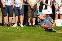 Martin Kaymer chips out of the bunker on the 5th green during the BMW PGA Golf Championship at Wentworth Golf Course, Wentworth Drive, Virginia Water, England on 26 May 2017. Photo by Steve McCarthy/PRiME Media Images.