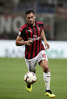 Calcio, Serie A: AC Milan - AS Roma, Milano stadio Giuseppe Meazza (San Siro) 31 agosto 2018. <br /> AC Milan's Hakan Calhanoglu in action during the Italian Serie A football match between Milan and Roma at Giuseppe Meazza stadium, August 31, 2018. <br /> UPDATE IMAGES PRESS/Isabella Bonotto
