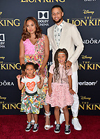 "LOS ANGELES, USA. July 10, 2019: Ayesha Curry, Steph Curry, Riley Curry & Ryan Curry at the world premiere of Disney's ""The Lion King"" at the Dolby Theatre.<br /> Picture: Paul Smith/Featureflash"