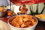 Potato chip stand in a street market.Suchitoto, El Salvador