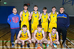 KCYMS Killorglin's U18 basketball team v St Brendans in the Kerry Airport KABB Basketball final in the Sports Complex on Saturday.<br /> Kneeling l to r: Sean O'Brien, Ruairi Murphy and Mike McCarthy.<br /> Standing l to r: Declan Wall, Callum Russell, Conor Murphy, Hugh Fitzpatrick, Stephen O'Sullivan and Charlie Buckley.