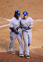 May 8, 2010; Phoenix, AZ, USA; Milwaukee Brewers outfielder Ryan Braun (right) is congratulated by second baseman Rickie Weeks after hitting a three run home run in the fifth inning against the Arizona Diamondbacks at Chase Field. Mandatory Credit: Mark J. Rebilas-