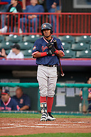 Portland Sea Dogs Deiner Lopez (33) at bat during an Eastern League game against the Erie SeaWolves on June 17, 2019 at UPMC Park in Erie, Pennsylvania.  Portland defeated Erie 6-3.  (Mike Janes/Four Seam Images)