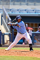 FCL Rays catcher Mario Fernandez (59) bats during a game against the FCL Twins on July 20, 2021 at Charlotte Sports Park in Port Charlotte, Florida.  (Mike Janes/Four Seam Images)