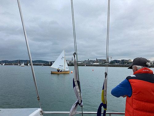 Race Officer Harry Gallagher finishes one of nine Water Wags that completed the in harbour course