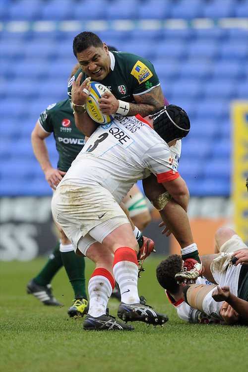 Halani Aulika of London Irish is tackled by Matt Stevens of Saracens during the Aviva Premiership match between London Irish and Saracens at the Madejski Stadium on Saturday 9th February 2013 (Photo by Rob Munro)