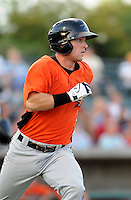 Infielder Michael Mosby (13) of the Frederick Keys in a game against the Myrtle Beach Pelicans on August 4, 2012, at TicketReturn.Com Field in Myrtle Beach, South Carolina. Myrtle Beach won, 4-3. (Tom Priddy/Four Seam Images)