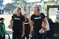 San Diego, CA - Sunday January 21, 2018: Alex Morgan, Allie Long prior to an international friendly between the women's national teams of the United States (USA) and Denmark (DEN) at SDCCU Stadium.