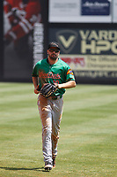 Down East Wood Ducks outfielder Michael O'Neill (10) during a game against the Carolina Mudcats  on April 27, 2017 at Five County Stadium in Zebulon, North Carolina. Carolina defeated Down East 9-7. (Robert Gurganus/Four Seam Images)