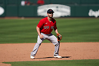 Boston Red Sox third baseman Chad De La Guerra (95) during a Major League Spring Training game against the Atlanta Braves on March 7, 2021 at CoolToday Park in North Port, Florida.  (Mike Janes/Four Seam Images)