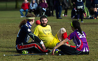 08 MAR 2015 - NOTTINGHAM, GBR - Seekers David Goswell (left) from Radcliffe Chimeras and Francesca Kempster (right), the Loughborough Longshots talk with  snitch runner Jordan Niblock (centre) during the 2015 British Quidditch Cup semi final at Woollaton Hall and Deer Park in Nottingham, Great Britain (PHOTO COPYRIGHT © 2015 NIGEL FARROW, ALL RIGHTS RESERVED)