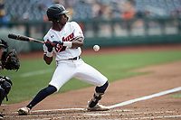 Auburn Tigers second baseman Ryan Bliss (9) ducks away from a pitch during Game 7 of the NCAA College World Series against the Louisville Cardinals on June 18, 2019 at TD Ameritrade Park in Omaha, Nebraska. Louisville defeated Auburn 5-3. (Andrew Woolley/Four Seam Images)