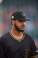 Bradenton Marauders pitcher Oddy Nunez (47) after a Florida State League game against the Palm Beach Cardinals on May 10, 2019 at LECOM Park in Bradenton, Florida.  Bradenton defeated Palm Beach 5-1.  (Mike Janes/Four Seam Images)