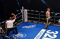 Callum Johnson (black gloves) defeats Emil Markic during a Boxing Show at York Hall on 24th April 2021