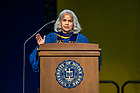 July 10, 2021; 2021 Provost Marie Lynn Miranda speaks at the Commencement Ceremony of the University of Notre Dame's Alliance for Catholic Education (ACE) in the Purcell Pavilion of the Joyce Center. (Photo by Barbara Johnston/University of Notre Dame)