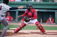 Catcher Alan Marrero (1) of the Greenville Drive in a game against the Hickory Crawdads on Friday, June 18, 2021, at Fluor Field at the West End in Greenville, South Carolina. (Tom Priddy/Four Seam Images)