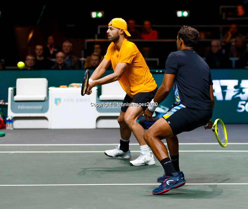 Rotterdam, The Netherlands, 15 Februari 2020, ABNAMRO World Tennis Tournament, Ahoy, <br /> Dooubles: Raven Klaasen (RSA) and Oliver Marach (AUT), Pierre-Hugues Herbert (FRA) and Nicolas Mahut (FRA).<br /> Photo: www.tennisimages.com