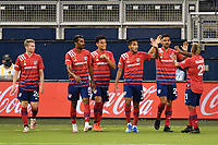 KANSAS CITY, KS - SEPTEMBER 02: FC Dallas players celebrate their goal during a game between FC Dallas and Sporting Kansas City at Children's Mercy Park on September 02, 2020 in Kansas City, Kansas.