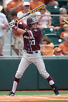 Texas A&M Aggies designated hitter Matt Juengel #17 at bat during the NCAA baseball game against the Texas Longhorns on April 28, 2012 at UFCU Disch-Falk Field in Austin, Texas. The Aggies beat the Longhorns 12-4. (Andrew Woolley / Four Seam Images).