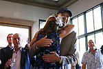 June 20, 2020: Patti Reeves hugs her husband, Dean Reeves, after their horse, Sole Volante, lost the Belmont Stakes to Tiz The Law. Gabriella Audi/Eclipse Sportswire/CSM