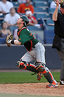 """Miami Hurricanes Shane Rowland #24 during a game vs. the University of South Florida Bulls in the """"Florida Four"""" at George M. Steinbrenner Field in Tampa, Florida;  March 1, 2011.  USF defeated Miami 4-2.  Photo By Mike Janes/Four Seam Images"""