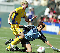 Victoria Svensson, left, Silke Rottenberg, right, Germany vs. Sweden in the 2003 WWC Finals. Germany won 2-1.