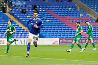 Kieffer Moore of Cardiff City celebrates his goal from the penalty spot during the Sky Bet Championship match between Cardiff City and Preston North End at the Cardiff City Stadium, Cardiff, Wales, UK. Saturday 20 February 2021