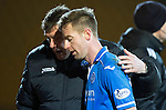 St Johnstone v Motherwell....25.02.14    SPFL<br /> Steven MacLean gets a hug from manager Tommy Wright as he is subbed on his return from injury<br /> Picture by Graeme Hart.<br /> Copyright Perthshire Picture Agency<br /> Tel: 01738 623350  Mobile: 07990 594431