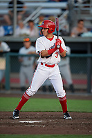 Auburn Doubledays Ricardo Mendez (3) at bat during a NY-Penn League game against the West Virginia Black Bears on August 23, 2019 at Falcon Park in Auburn, New York.  West Virginia defeated Auburn 8-1, the first game of a doubleheader.  (Mike Janes/Four Seam Images)