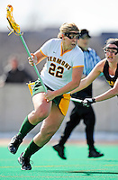 5 April 2008: University of Vermont Catamounts' Attackman Sarah DeStefano, a Junior from Eliot, ME, rushes forward to score the winning goal with less than two seconds remaining in regulation time against the University at Albany Great Danes at Moulton Winder Field, in Burlington, Vermont. The Catamounts rally defeated the visiting Danes 11-10 in America East conference play...Mandatory Photo Credit: Ed Wolfstein Photo