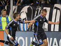 March 10th, 2013: Adam Jahn celebrating after his first goal during a game against Red Bulls at Buck Shaw Stadium, Santa Clara, Ca.   Earthquakes defeated Red Bulls 2-1