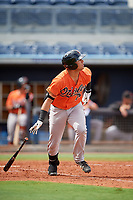 Baltimore Orioles J.C. Escarra (72) runs to first base during a Florida Instructional League game against the Tampa Bay Rays on October 1, 2018 at the Charlotte Sports Park in Port Charlotte, Florida.  (Mike Janes/Four Seam Images)
