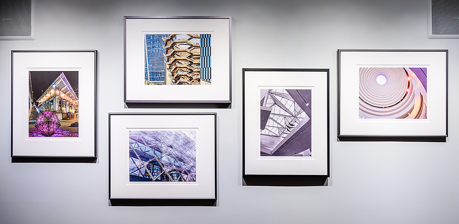 """Sample wall grouping of 5 16"""" x 20"""" framed prints. Groupings of 2 to 5 prints are an alternative to a single large print."""