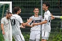 Torjubel Noah Grewatsch (M) mit Daniel Akmadzic (r) und Muhammed Öner (Königstädten) beim 1:0 - Rüsselsheim 22.08.2021: SV Alemannia Königstädten vs. SKG Stockstadt, Kreisliga A