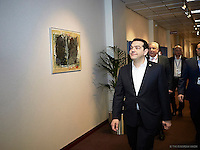 Pictured: Greek Prime Minister Alexis Tsipras Friday 19 February 2016<br /> Re: European Union summit in Brussels, Belgium.