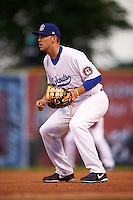 Chattanooga Lookouts first baseman Dalton Hicks (52) during a game against the Jacksonville Suns on April 30, 2015 at AT&T Field in Chattanooga, Tennessee.  Jacksonville defeated Chattanooga 6-4.  (Mike Janes/Four Seam Images)