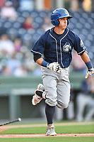 Shortstop Jose Gomez (4) of the Asheville Tourists in a game against the Greenville Drive on Tuesday, May 2, 2017, at Fluor Field at the West End in Greenville, South Carolina. Asheville won, 7-1. (Tom Priddy/Four Seam Images)