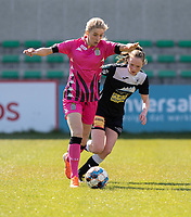 Ludmila Matavkova (9) of Sporting Charleroi and Loes Van Mullem (33) of Eendracht Aalst pictured during a female soccer game between Eendracht Aalst and Sporting Charleroi on the third matchday of play off 2 of the 2020 - 2021 season of Belgian Scooore Womens Super League , Saturday 24 th of April 2021  in Aalst , Belgium . PHOTO SPORTPIX.BE | SPP | KRISTOF DE MOOR