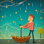 Businessman catching money in an umbrella