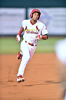 Johnson City Cardinals shortstop Oscar Mercado #4 runs to third during a game against the Danville Braves at Howard Johnson Field September 4, 2014 in Johnson City, Tennessee. The Braves defeated the Cardinals 6-1. (Tony Farlow/Four Seam Images)