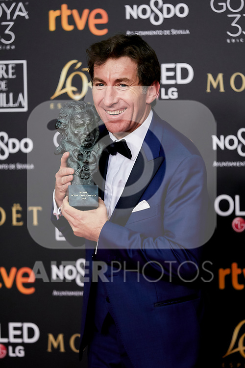 Antonio de la Torre (best actor award for his role in 'El reino') attends to 33rd Goya Awards at Fibes - Conference and Exhibition  in Seville, Spain. February 03, 2019. (ALTERPHOTOS/A. Perez Meca)