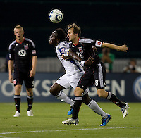 Carey Talley () of D.C. United fights for the ball with Kei Kamara (23) of the Kansas City Wizards at RFK Stadium in Washington, DC.  D.C. United defeated the Kansas City Wizards, 2-1.