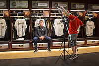 Wake Forest Demon Deacons first baseman Gavin Sheets is interviewed by WXII television at David F. Couch Ballpark on February 24, 2017 in  Winston-Salem, North Carolina.  (Brian Westerholt/Four Seam Images)