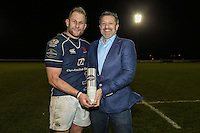 Mark Bright (capt) of London Scottish is presented with the Man of The Match award after the British and Irish Cup fourth round fixture between London Scottish Football Club and Yorkshire Carnegie at Richmond Athletic Ground, Richmond, United Kingdom on 19 December 2015. Photo by David Horn.