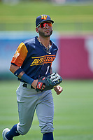Luis Barrera (1) of the Las Vegas Aviators comes off the field against the Salt Lake Bees at Smith's Ballpark on June 27, 2021 in Salt Lake City, Utah. The Aviators defeated the Bees 5-3. (Stephen Smith/Four Seam Images)