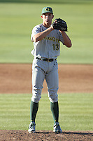 Tyler Anderson #13 of the Oregon Ducks pitches against the USC Trojans at Dedeaux Field in Los Angeles,California on April 15, 2011. Photo by Larry Goren/Four Seam Images